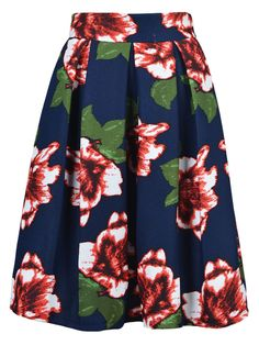 Red Floral Print Navy Skirt | Choies