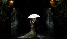 Bride and Groom at night time outside Hillbark Hotel gates