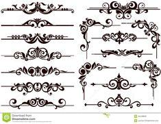 Vector Ornaments Frames, Corners, Borders Stock Vector - Illustration of clipart, elements: 45448808 Art Nouveau Pattern, Art Nouveau Design, Illustration Vector, Vector Art, Stock Illustrations, Rosemaling Pattern, Doodle Borders, Stencil Printing, Romantic Cards