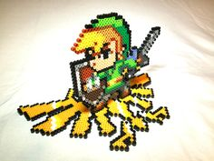 Link on Triforce Base Perler Beads by ThatsTheBeadsKnees
