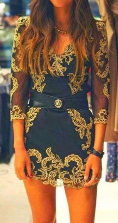 Black + Gold Embroidered Dress. #gold