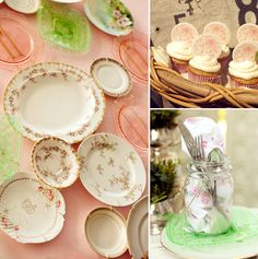 Double Take Event Styling French Baby Shower ! Vintage Plates (Imperial Beaded Block Green Glass & Pink Depression Glass), Canning Jars, Baskets, Roses, Old Silver Trays with Chalkboard Signs, Crates and Wheels, Old Cart and Wildflowers!