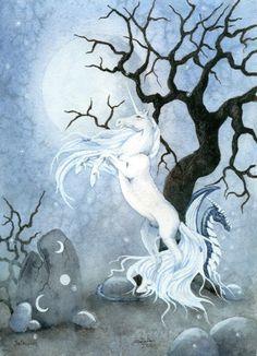 Unicorn Art ACEO The Unicorn fantasy equine by FaeryDustArt