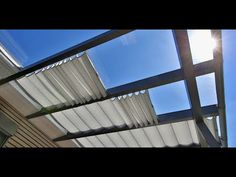 Wolkenbahn with 8 mm aluminum tubes for straight lines … Door Protection, Backyard House, Garden Design, House Design, Bamboo Garden, Roof Structure, Covered Pergola, Curtains With Blinds, Outdoor Living