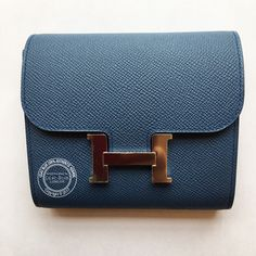 1356adb4ac51 Hermes Constance Wallet Bleu Agate Gris Mouette Epsom PHW