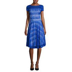 Melrose Short Sleeve Lace Fit & Flare Dress