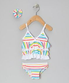 Love this Yellow Stripe Ruffle Tankini & Hair Tie - Infant by Sweet & Soft on #zulily! #zulilyfinds
