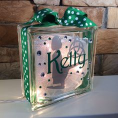 My Irish Dance GemLight is an 8x8x3 builders glass block filled with sparkle mesh and clear lights. It is customized on the front with professional
