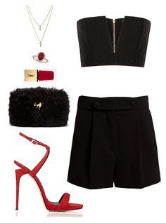 Red&Black by dalma-m on Polyvore featuring polyvore fashion style Balmain Valentino Giuseppe Zanotti Allurez LOFT Yves Saint Laurent clothing
