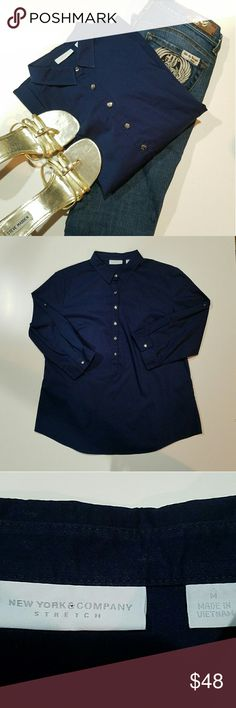 New york &company stretch navy blue career shirt New york &company stretch navy blue career shirt size medium  silver buttons New York & Company Tops Blouses
