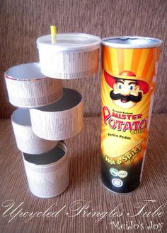 make a Pringles container into a rotating layered storage tower