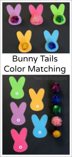 Make these adorable bunnies with magnetic pompom tails for a fun color matching game for your little ones!