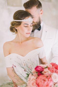 Crystal Pearls Rhinestone Bridal Headband by BlueSkyHorizons Wedding Headband, Boho Bridal Hair, Rhinestone Headband, Flapper, 1920s Wedding, Bride Makeup, Boho Bride, Bridal Headpieces, One Shoulder Wedding Dress