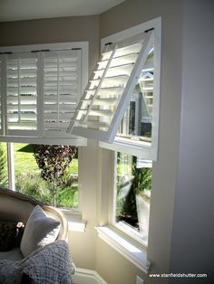 Bahama style shutters will take you on vacation without leaving your home. Coastal Bedrooms, Coastal Living Rooms, Coastal Cottage, Coastal Decor, Coastal Style, House Windows, Windows And Doors, Porches, Bahama Shutters