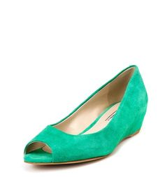 DÉCOLLETÉ OPEN TOE IN PELLE SCAMOCIATA VERDE