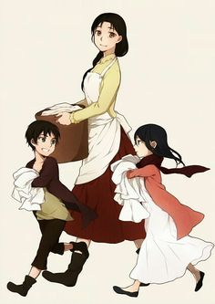 Attack on Titan (love how Mikasa is carrying more than Eren)