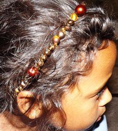 Bronze and Gold beaded headband