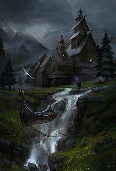 Dark Fantasy, Fantasy City, Fantasy Places, Fantasy World, Fantasy Art Landscapes, Fantasy Landscape, Fantasy Artwork, Landscape Art, Environment Concept Art