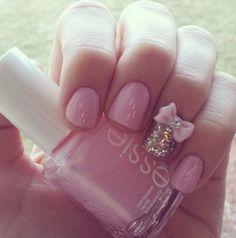 Pink nails with a bow and a silver glitter accent nail Glitter Accent Nails, Silver Glitter, Cute Nails, Pretty Nails, Overlay Nails, Nail Time, Cute Nail Designs, Nail Polish Colors, Pink Nails