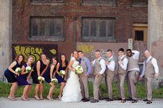 Britney + Erik = Married | Salt & Light Photography - Downtown rustic brick wedding party photo. LOVE it!