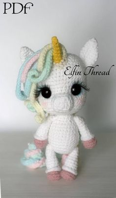 A Magical Unicorn is descending from the clouds in a rainbow slide directly to you... will you take her with you? This is a crochet pattern to make this beautiful Chibi Unicorn and includes another to crochet her Magical Poo! Details: The finished doll size is about 10 (26 cm) standing. Warning: the doll cant stand on its own. The PDF pattern is available in English (American standards). The skill level is easy/intermediate, but dont worry: if youre a beginner, the pattern includes det...