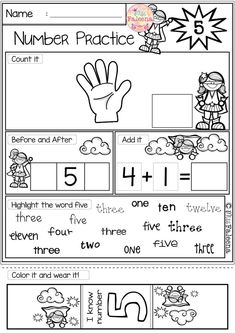 Free Number Practice. These pages are great for pre-k, kindergarten and first grade students. It will help children to master numbers in a many different ways. Children will learn numeral tracing, writing, coloring, drawing, tallying, finger counting, number words, finding, number sequencing, and adding. Preschool | Kindergarten | Math Kindergarten Worksheets | First Grade | Math First Grade Worksheets | Math | Free Number Practice | Number 5