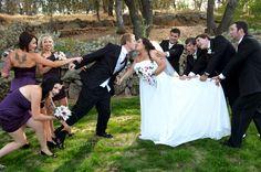 fun wedding photo - grooms men - brides maids - kiss - love - groom - adorable - Bri & Jimmy's Wedding - KURTIS OSTROM PHOTOGRAPHY