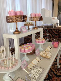 Blush gold and white -️sweet bar -bridal shower - Elegant Bridal Shower, Sweet Bar, Blush And Gold, Candy Buffet, Tables, Party, Toddler Table, Mesas, Table