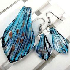 Sky Blue Foil Lampwork Glass Leaf Pendant Hook Earrings 1Set