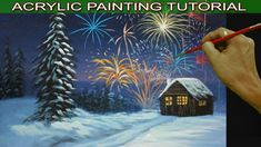 Acrylic Landscape Painting Tutorial Snowy Christmas Eve with Barn and Fi...