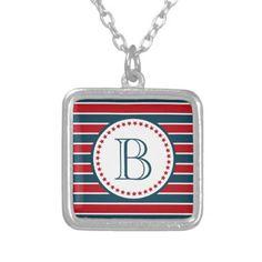 #monogrammed - #Monogram design silver plated necklace