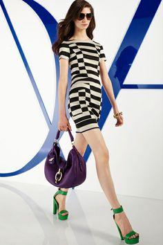 graphic black & white stripe dress. and I <3 the green shoes!  Diane von Furstenberg DVF resort 2013