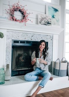 Fireplace Makeover Reveal with The Home Depot x Pretty in the Pines // marble herringbone tile, white shiplap above fireplace, DIY spring