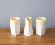 Sarah Backler : High Tea Ceramic Cups - Yellow/White - Clever Bastards: The best of New Zealand art & design