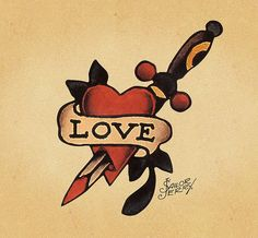 Sailor Jerry Love Tattoo Flash | KYSA #ink #design #tattoo