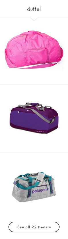 """""""duffel"""" by asterplaster ❤ liked on Polyvore featuring bags, luggage, pink, travel accessories, purple, white, blue, green, black and royal"""