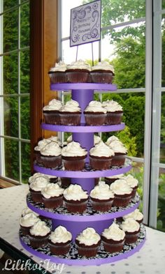 DIY cupcake tower is easy and inexpensive to make.