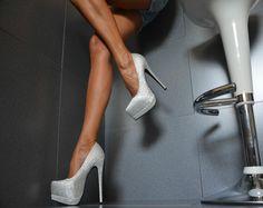 Jumex Designer Luxus Damenschuhe Party Glitzer Pumps Plateau High Heels Schwarz | eBay