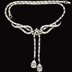 Trifari 'Alfred Philippe' Diamante Baguette Swirls Double Pendant Necklace