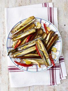 Roasted razor clams   Jamie Oliver