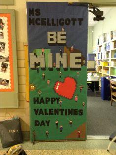 Valentine Door Decoration Ideas Classroom Best Of Minecraft Door Decoration Minecraft Classroom, School Doors, Class Decoration, Cuisines Design, Valentine Decorations, Happy Valentines Day, Valentine Treats, Classroom Decor, Paper Flowers