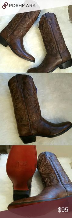 Authentic Men's Marbled Deerlite Cowboy Boots Authentic Dark Brown Leather Marbled Men's  Cowboy Boots- Style 1564 NEVER WORN/ NEW IN BOX Justin Boots Shoes Cowboy & Western Boots