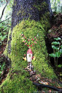 Alisa Burke's fairy house tucked in the base of a moss covered tree. Fairy Garden Houses, Gnome Garden, Fairy Gardens, Fairy Land, Forest Fairy, Gnome House, Backyard Paradise, Fairy Doors, Garden Inspiration