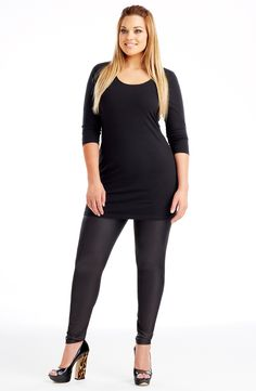 This is the perfect layering piece for a winter wardrobe. Plus Size Leggings, 1 Image, Winter Wardrobe, Plus Size Dresses, Plus Size Fashion, Diva, Layers, Scoop Neck, My Style