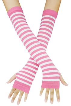 Punk Gothic Rock Long Arm Warmer Fingerless Gloves, Black Fuchsia at Amazon Women's Clothing store: Striped Gloves, Striped Tights, Foot Socks, Gothic Rock, Best Stretches, Fingerless Gloves, Arm Warmers, Pink White, Fashion Brands