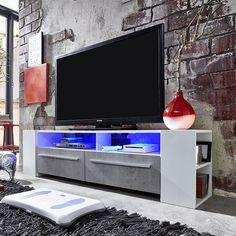 Glymer LCD TV Stand In White With Gloss Fronts n LED Tv Stand Furniture, Furniture Catalog, Living Room Tv, Living Room Lighting, Tv Stand With Led Lights, Modern Corner Tv Stand, Lcd Tv Stand, Wooden Tv Stands, Lcd Television