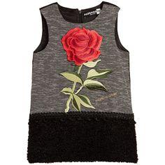 Paesaggino Grey & Black Dress with Rose Appliqué & Bouclé Skirt at…