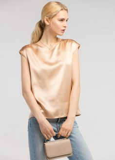Basic casual sleeveless silk tee features the round neck and a relaxed fit. It is Charmeuse silk which own OEKO certification, glossy and easy to care. Silk T Shirt, Satin Shirt, Fashion Sewing, Women's Fashion, I Dress, Gold Dress, Knitted Coat, Short Sleeve Cardigan, Latest Tops