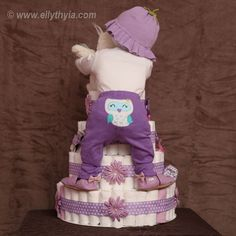 owl sippy cup | Purple Owl and Baby Girl Diaper Cake