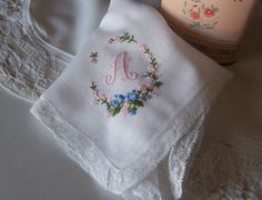 Monogrammed A Bridal Handkerchief with Lace by GreenbriarCreations